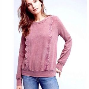 Eri & Ali acid wash purple ruffle sweater Size XS